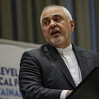 Iranian Foreign Minister Mohammad Javad Zarif speaks at a high level political forum on sustainable development on July 17, 2019, at UN Headquarters in New York. (Kena Betancur/AFP)