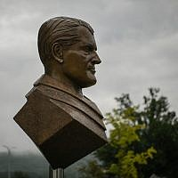 A bust of Wernher von Braun is seen at the administration complex of NASA's Marshall Space Flight Center on July 17, 2019, in Huntsville, Alabama. (Loren Elliott/AFP)