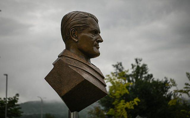 A bust of Wernher von Braun is seen at the administration complex of NASA's Marshall Space Flight Center on July 17, 2019, in Huntsville, Alabama. (Loren Elliott/AFP)