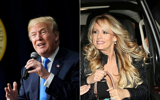 This combination of file pictures created on March 27, 2018 shows US President Donald Trump speaking at The Generation Next event, a White House Forum featuring millennial voters and administration officials on March 22, 2018, in Washington, DC, and actress Stephanie Clifford, who uses the stage name Stormy Daniels, arriving to perform at the Solid Gold Fort Lauderdale strip club on March 9, 2018 in Pompano Beach, Florida. (Photos by MANDEL NGAN and JOE RAEDLE / various sources / AFP)