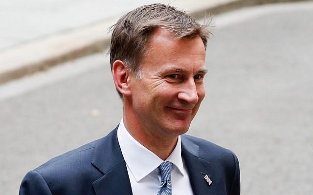 Britain's Foreign Secretary Jeremy Hunt leaves 10 Downing Street in central London on July 22, 2019. (Adrian Dennis/AFP)