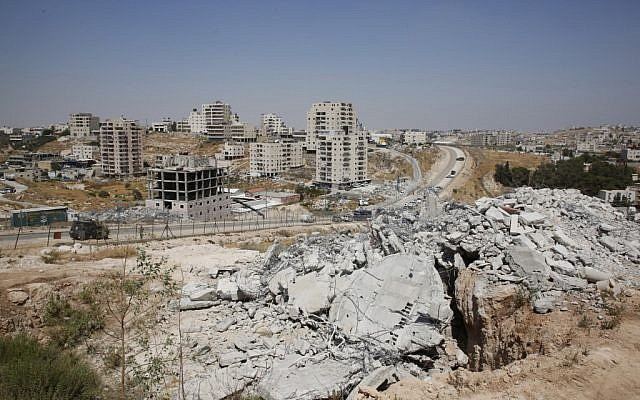 This picture taken on July 22, 2019 shows buildings demolished by Israel in the area of Sur Baher in East Jerusalem. (Hazem Bader/AFP)