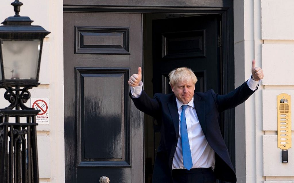 New Conservative Party leader and incoming prime minister Boris Johnson arrives at the Conservative party headquarters in central London on July 23, 2019. (Niklas HALLE'N / AFP)