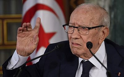 A file photo taken on November 8, 2018, shows Tunisian President Beji Caid Essebsi giving a press conference in Carthage Palace near Tunis. (FETHI BELAID / AFP)