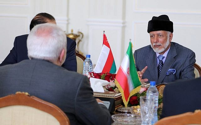 Oman's Minister of State for Foreign Affairs Yousuf bin Alawi bin Abdullah, right, attends a meeting with Iran's Foreign Minister Mohammad Javad Zarif in Tehran on July 27, 2019. (ATTA KENARE / AFP)
