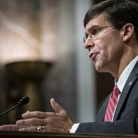 Secretary of Defense nominee, Mark Esper, testifies before the Senate Armed Services Committee during his confirmation hearing on July 16, 2019 in Washington, DC. (Pete Marovich/Getty Images/AFP)