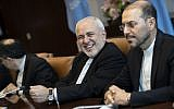 Mohammad Javad Zarif, the foreign minister of Iran, smiles as he arrives for a meeting with UN Secretary-General Antonio Guterres at United Nations headquarters, July 18, 2019 in New York City. (Drew Angerer/Getty Images/AFP)