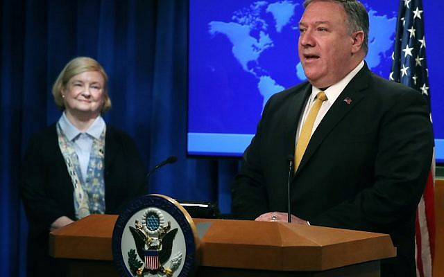 US Secretary of State Mike Pompeo is joined by commission the chair, Harvard Professor Mary Ann Glendon (L), while announcing the formation of a commission to redefine human rights, based on natural law and natural rights, during a news conference at the State Departmen, on July 8, 2019 in Washington, DC. (Mark Wilson/Getty Images/AFP)