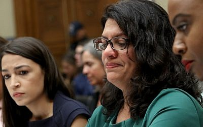 US Rep. Rashida Tlaib, (Democrat-Michigan), center, testifies before a House Oversight and Reform Committee hearing, in Washington, DC, July 12, 2019. (McNamee/Getty Images/ AFP)
