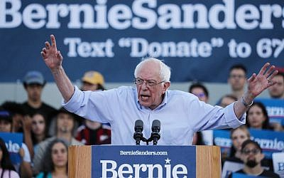 Democratic presidential candidate and US Senator Bernie Sanders (Independent of Vermont) speaks at a campaign rally on July 26, 2019 in Santa Monica, California. (Mario Tama/Getty Images/AFP)