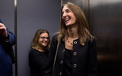 Democrat Eileen Filler-Corn of Fairfax County rides the elevator down from her office in the Pocahontas Building in Richmond, Virginia on Tuesday, December 18, 2018. (Julia Rendleman for the Washington Post via JTA)