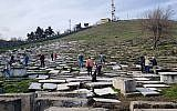 Visitors touring the Jewish cemetery of Bitola, Macedonia in 2018. (Yael Unna/Wikimedia Commons/via JTA)