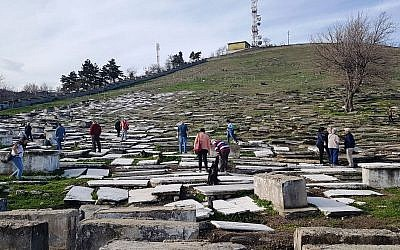 Visitors touring the Jewish cemetery of Bitola, Macedonia in 2018. (Yael Unna/Wikimedia Commons/via JTA)
