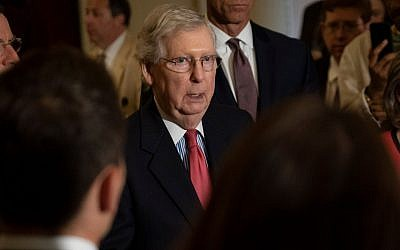 Senate Majority Leader, Mitch McConnell speaks to the media during a press conference following the Senate Republican Leadership lunches in Washington, DC on July 16, 2019. (Pete Marovich/Getty Images via JTA)