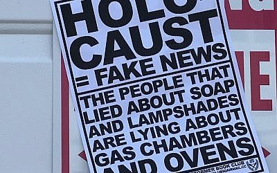 Anti-Semitic fliers posted at a synagogue in Marblehead, Massachusetts. (Courtesy Anti-Defamation League)