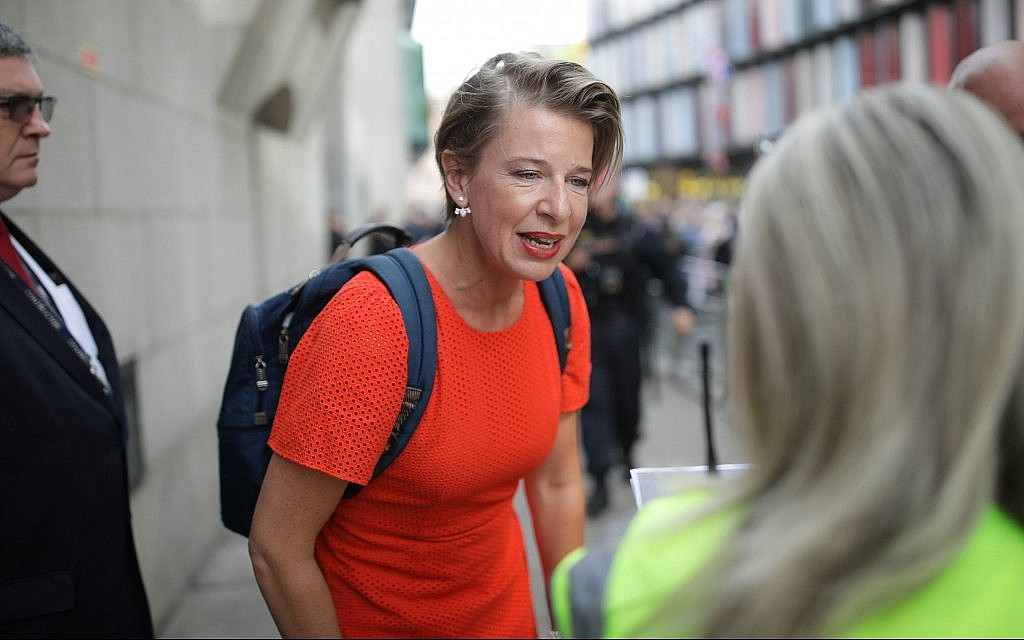 Katie Hopkins attending a protest over the jailing of the far-right activist known as Tommy Robinson in London, England on on July 11, 2019. (Luke Dray/Getty Images/via JTA)