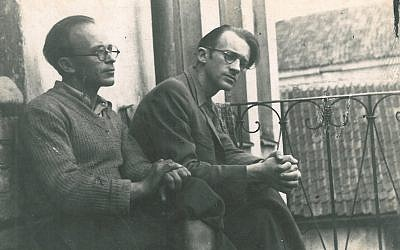 Abraham Sutzkever, right, before World War II in Vilnius, Lithuania. (Courtesy/via JTA)