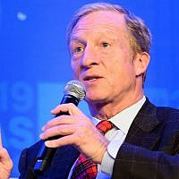 Tom Steyer speaks at the Center for American Progress conference in Washington on May 22, 2019. (Michael Brochstein/SOPA Images/ LightRocket via Getty Images/via JTA)