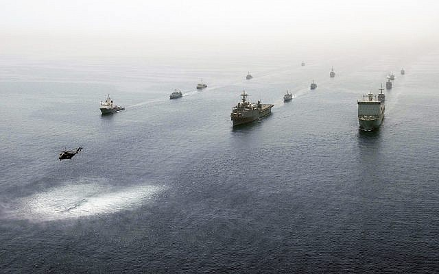 Multinational ship in formation in the Persian Gulf May 21, 2013, during an International Mine Countermeasures Exercise. (Michael Sandberg/US Navy)