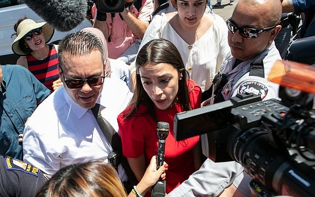 Rep. Alexandria Ocasio-Cortez speaks to the media after visiting the detention facility in Clint, Texas on July 1 (Christ Chavez/Getty Images via JTA)