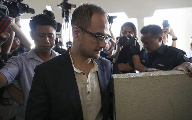 Riza Aziz, stepson of Malaysian former prime minister Najib Razak, walks into a court room at Kuala Lumpur High Court in Kuala Lumpur, Malaysia on July 5, 2019. (AP/Vincent Thian)