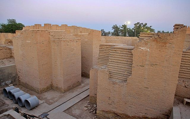 The archaeological site of Babylon, Iraq, Friday, July 5, 2019. Iraq on Friday celebrated the UNESCO World Heritage Committee's decision to name the historic city of Babylon a World Heritage Site in a vote held in Azerbaijan's capital, years after Baghdad began campaigning for the site to be added to the list. (AP Photo/Anmar Khalil)