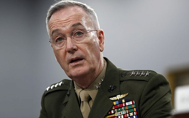 Joint Chiefs of Staff Chairman Gen. Joseph Dunford testifies during a House Appropriations subcommittee on budget hearing on Capitol Hill in Washington, May 1, 2019. (Jacquelyn Martin/AP)