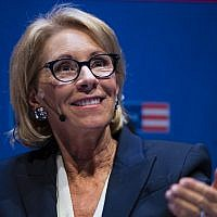US Education Secretary Betsy DeVos speaks during a student town hall at the National Constitution Center in Philadelphia, September 17, 2018. (Matt Rourke/AP)