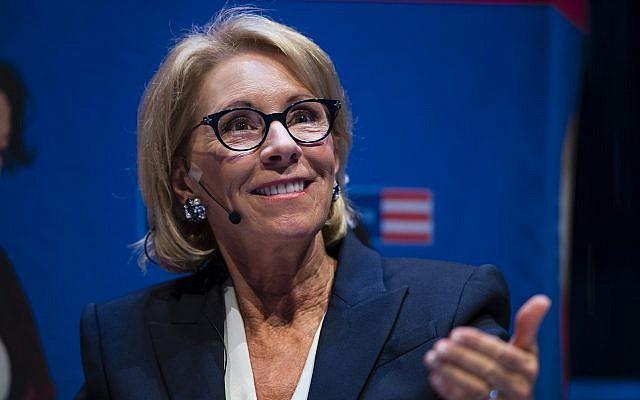 US Education Secretary Betsy DeVos speaks during a student town hall at the National Constitution Center in Philadelphia, September 17, 2018. (Matt Rourke/AP)