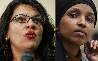 This combination image shows, from left, US Congresswomen Rashida Tlaib, July 10, 2019; Ilhan Omar, March 12, 2019; Alexandria Ocasio-Cortez, July 12, 2019; and Ayanna Pressley, July 10, 2019, all in Washington. (AP Photo)