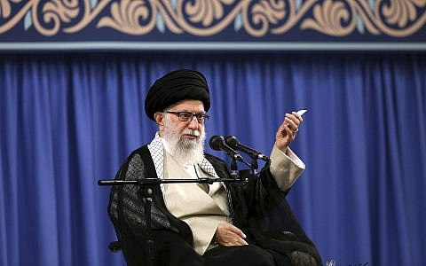 Supreme Leader Ayatollah Ali Khamenei speaks in a meeting with a group of clerics, in Tehran, Iran, July 16, 2019. (Office of the Iranian Supreme Leader via AP)