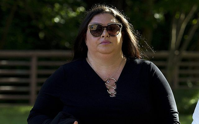 Lee Elbaz arrives at federal court in her trial in Greenbelt, Md., Tuesday July 16, 2019. (AP Photo/Jose Luis Magana)