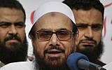 Hafiz Saeed, founder of Pakistani religious group Jamaat-ud-Dawa, addresses an anti-Indian rally in Lahore, Pakistan, October 26, 2018. (K.M. Chaudary/AP)