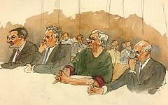 In this courtroom sketch, defendant Jeffrey Epstein, second from right, listens along with defense attorneys, from left, Marc Fernich, Michael Miller, and Martin Weinberg as Judge Richard M. Berman denies him bail during a hearing in federal court, July 18, 2019 in New York. (Aggie Kenny via AP)