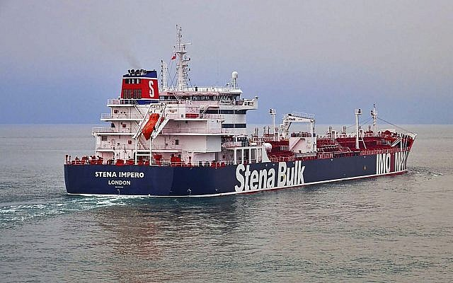 This undated photo issued July 19, 2019 shows the British oil tanker Stena Impero, which is believed to have been captured by Iran. (Stena Bulk via AP)