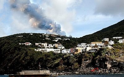 Smoke rises from the Stromboli island during an eruptive activity of the volcano off the Sicilian coast of Messina, southern Italy on Feb. 28, 2007. (AP Photo/Francesco Saya)
