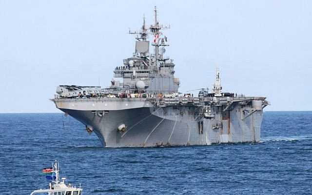 Illustrative: The Wasp class amphibious assault ship USS Boxer sails past the Likoni channel as it heads to dock at the port of Mombasa, April 20, 2009. (AP Photo/Str)