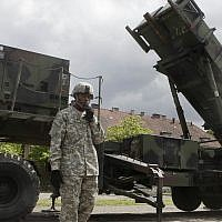 Illustrative: A US soldier stands next to a Patriot surface-to-air missile battery at an army base in Morag, Poland, May 26, 2010. (AP Photo/Czarek Sokolowski)