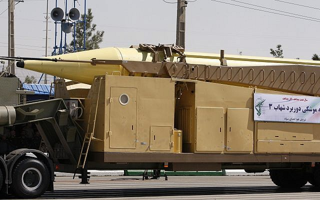 File: A Shahab-3 missile is displayed by Iran's Revolutionary Guard during a military parade Sept. 22, 2010. (AP Photo/Vahid Salemi)