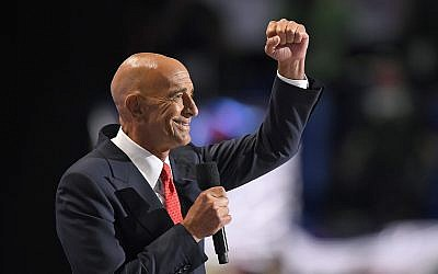 Tom Barrack takes the stage to speak during the final day of the Republican National Convention in Cleveland, Thursday, July 21, 2016. (AP/Mark J. Terrill)