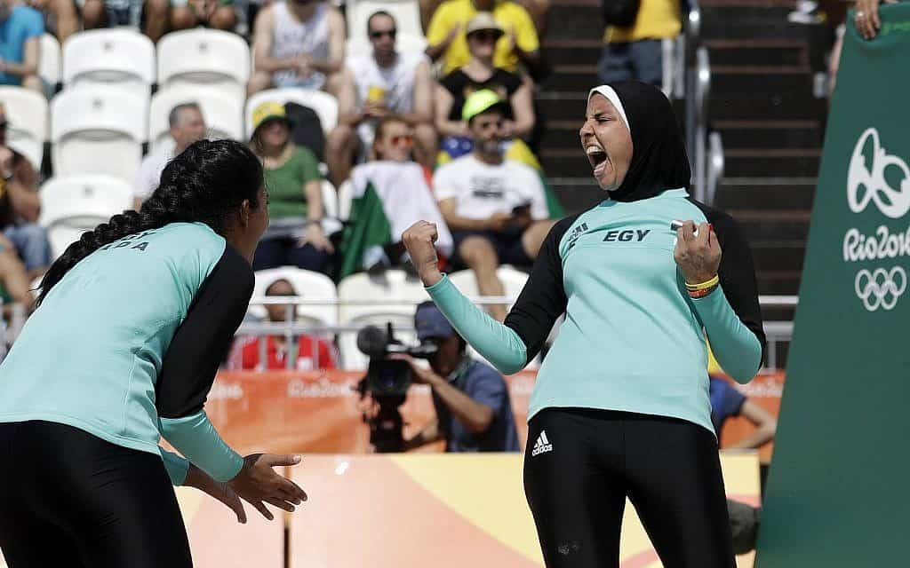 Egypt's Olympic female volleyball in Rio de Janeiro, 2016. (AP Photo/Marcio Jose Sanchez)