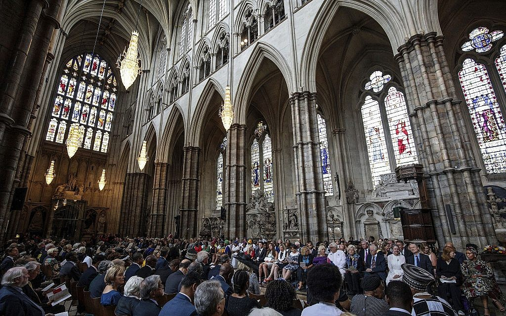 Illustrative: A large congregation attend a service at Westminster Abbey in London, Wednesday July 18, 2018. (Jack Taylor/PA via AP)