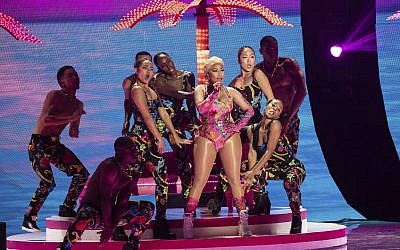Singer Nicki Minaj performs with members of Little Mix during the European MTV Awards in Bilbao, Spain, Sunday, Nov. 4, 2018. (Photo by Vianney Le Caer/Invision/AP)