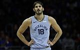 Then Memphis Grizzlies forward Omri Casspi in action during an NBA basketball game against the Philadelphia 76ers, December 2, 2018, in Philadelphia. (AP Photo/Matt Slocum)