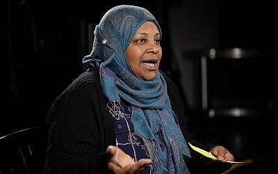Marzieh Hashemi, a prominent US-born television anchorwoman for Iran's state television, speaks during a interview with the Associated Press in Washington, January 24, 2019. (Pablo Martinez Monsivais/AP)