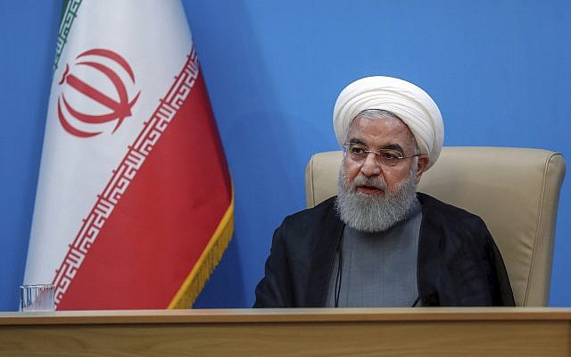 President Hassan Rouhani attends a meeting with the Health Ministry officials, in Tehran, Iran, June 25, 2019. (Official website of the Iranian Presidency Office via AP)