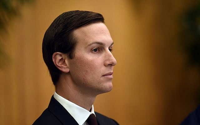 White House senior adviser Jared Kushner listens as he attends a working breakfast with US President Donald Trump and Saudi Arabia's Crown Prince Mohammed bin Salman on the sidelines of the G-20 summit in Osaka, Japan, Saturday, June 29, 2019. (Susan Walsh/AP)