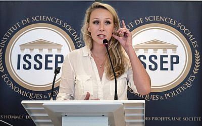 Marion Marechal delivers a speech as she inaugurates the Institute of Social Sciences, Economics and Politics (ISSEP) in Lyon, central France, June 22, 2018. (Laurent Cipriani/AP)