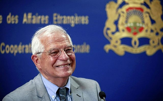 In this Monday, June 3, 2019 file photo, Spanish Foreign Minister Josep Borrell attends a press conference in Rabat, Morocco. European Union leaders on Tuesday, July 2, 2019, after a lengthy session of talks, have nominated current Spanish foreign minister Josep Borrell for the post of EU foreign policy chief. (AP Photo/Mosa'ab Elshamy, File)