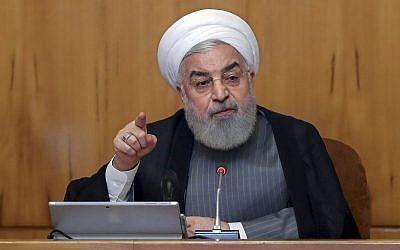 President Hassan Rouhani speaks in a cabinet meeting in Tehran, Iran, July 3, 2019 (Iranian Presidency Office via AP)